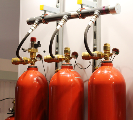 Automatic gas extinguishing installation. Modular gas fire extinguishing systems. Cylinders to extinguish the fire. Fire extinguisher.