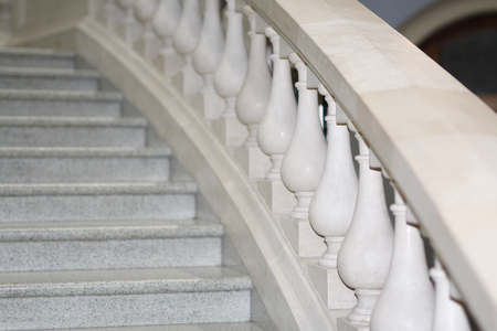 Marble white staircase. Ancient style in architecture.