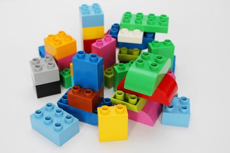 Construction designer for children. Building blocks. Multi-colored cubes for children. Teaching children. Geometry study. Banco de Imagens