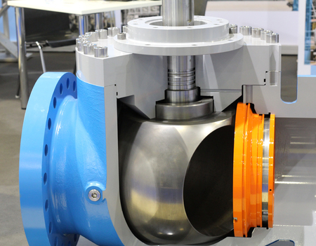 Valves regulating and locking regulating. Gate valves. Ball valves. Ball valves in the cut. Oil and gas industry. Stock fotó