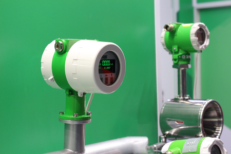 Mass Coriolis flow meter. Measurement of mass, volume, density flow. Mass flow meter of gas, air, liquid.