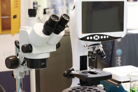 Microscope from a chemical laboratory. Researching. Equipment in the laboratory. 写真素材