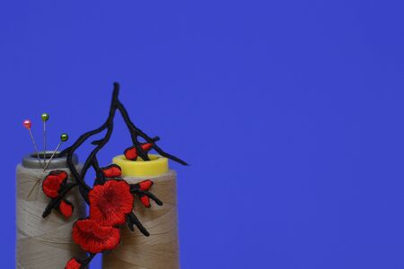 Needlework concept. Two large spools of thread and needles on a blue background. The photo has an application in the form of red flowers. Plenty of room for text. Stok Fotoğraf