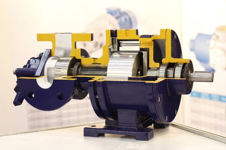 Centrifugal Pump with Magnet Drive. The pump is shown in section. Modular pump design for the petrochemical, oil and gas industry.