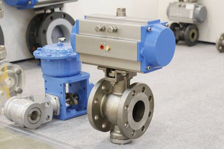Wide cast steel control valve for industrial applications. Industrial valve. Elements of the equipment of modern compressor station.