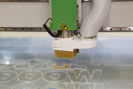 Water-cooled milling and engraving machine. CNC machine. Milling work in 2D and 3D space. Processing of acrylic glass, model plastic and plexiglass.