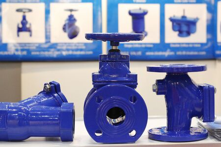 The valve with a rubber wedge is presented in a section. Blue cast iron gate valve for industrial piping wedge with rubber wedge. Throttle with gearbox. Manual valve.