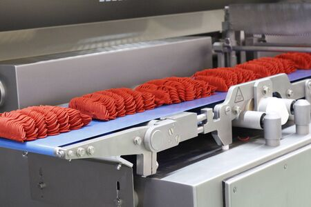 Molding system for the production of meat products at the factory. The machine prepares minced meat. The machine divides portions by weight and spreads the minced meat in trays.
