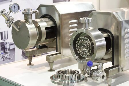 A fragment of a device for mixing liquids. Mixing liquid and powder for manufacturing plants. Centrifugal pumps in the food industry.