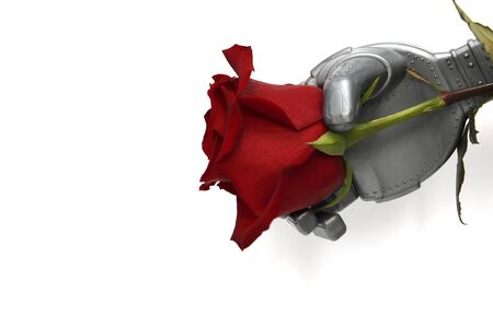 The robot gives flowers. Robot arm and live rose. Robot congratulates women on the holiday. Gift. White background. Smart robot. The concept of intelligent intelligence.