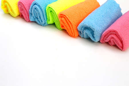 A set of multi-colored microfiber cloths for cleaning. Cleaning services. Cleaning of premises. Housekeeper. A set of bright microfiber napkins for home cleaning.