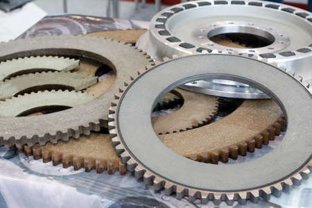 Friction clutches for heavy-duty gearboxes with integral clutch. Mechanical, pneumatic and rubber damping couplings. Detail for heat generators. Foto de archivo