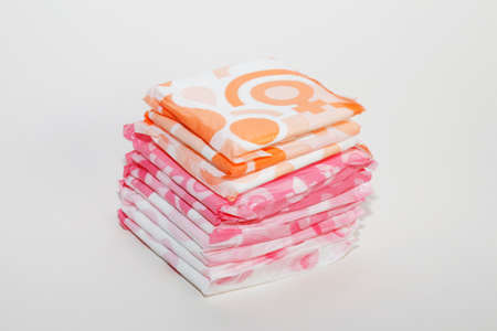Sanitary napkin for women during menstruation. Critical days. Menstrual pad for women for hygiene or blood period. Personal hygiene protection for women. Foto de archivo