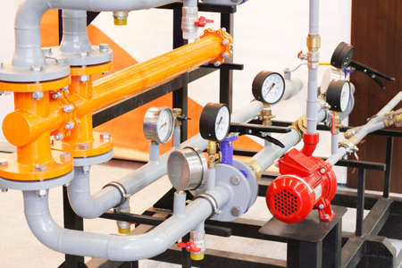 Heat exchange equipment at the factory. Pressure gauges. Measuring instruments. Modern technologies in production. Equipment for heating, water supply and sewerage.