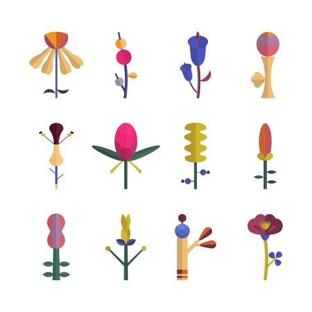 Abstract set with flowers. Flat design object Ilustrace