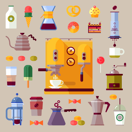 Modern colorful coffee maker flat icons set.