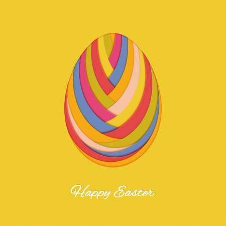 Happy easter card with paper abstract egg. Vector illustration