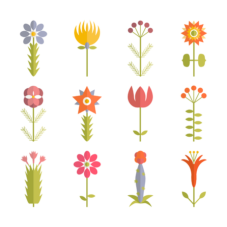 Set of floral icon. Flat design style Ilustrace