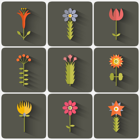 Flowers icon set in trendy flat style Ilustrace