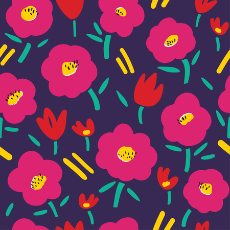 Vector seamless pattern with abstract flowers. Endless background. Ilustrace