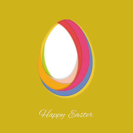 Happy easter card with paper abstract egg.