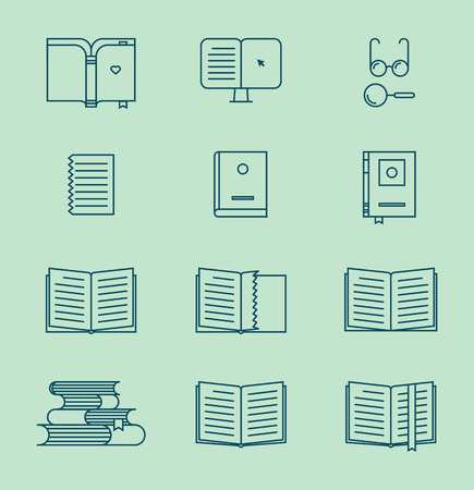 Book thin line icons. Vector books and symbols. Universal icon set.