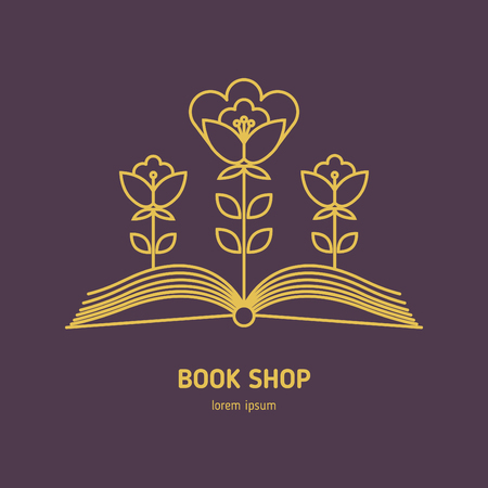 Vector for bookshop, mockup of sign literature store. Line style icon
