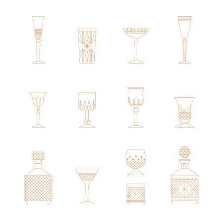 Flat style crystal glass vector icon set. Thin lines web icons set. Champagne, wine, cogniac, coctail, ale, vodka, irish cream, liquor, whiskey, bourbon, brandy, calvados. Bar cafe restaurant collection. Ilustrace