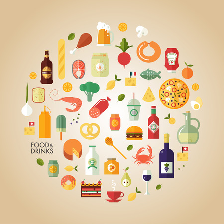 Flat design style modern vector illustration food and drink icon set Ilustrace