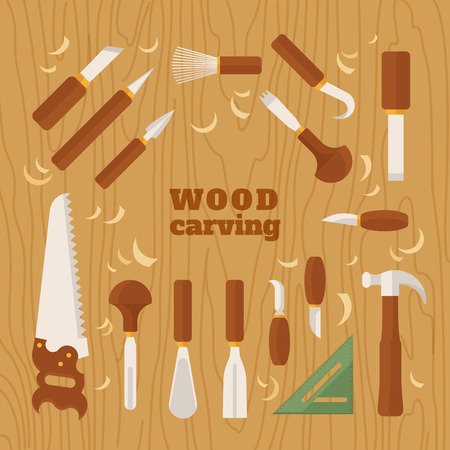 Instrument for carving. The chisels set on wood texture. Flat vector illustration Ilustrace