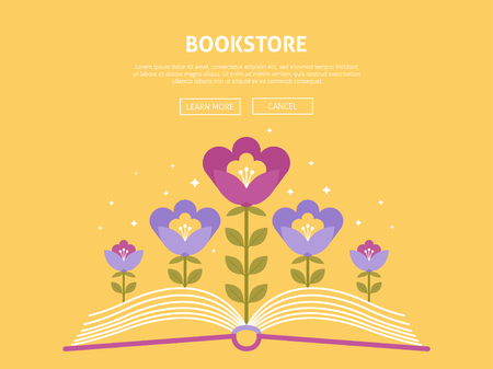 Online bookstore shopping and vector web illustration website