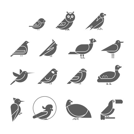 Vector bird icon set. Symbol silhouettes of birds. Flat design