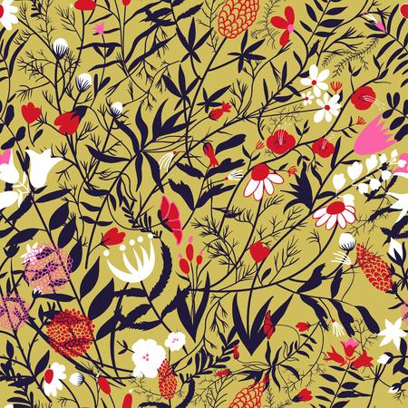 Elegant seamless pattern with flowers, vector illustration Ilustrace