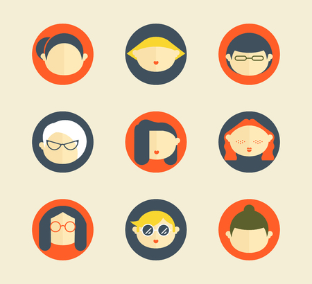 Colorful female faces circle icons set in trendy flat style. Characters avatars for web Ilustrace