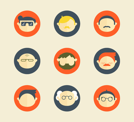 Colorful male human faces social network icons set isolated vector illustration. Circle icons set in trendy flat style Ilustrace