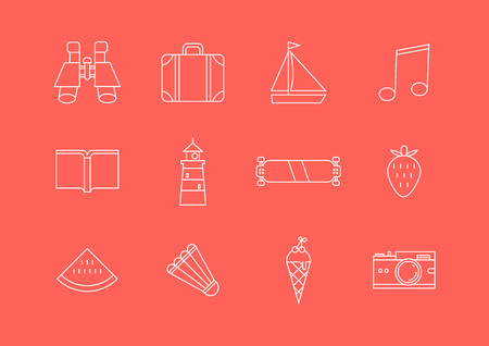 Holiday and summer travel outline icons. Vector set of vacation illustration
