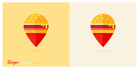 Colorful fast food concept map marker. Burger map pin location. Flat design style. Vector isolated illustration