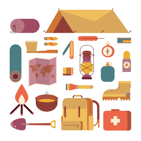 Colorful camping set icons. Vector design illustrations, infographic elements. Flat style. Ilustrace