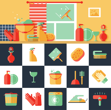 Colorful cleaning icon vector set. Flat design style.
