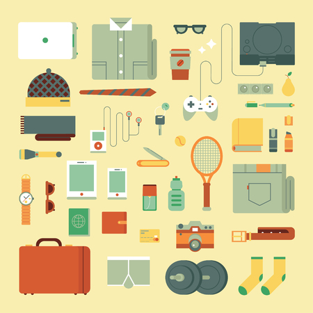 Clothing icons set. Vector design illustration of every day carry and outfit accessories, things, tools, devices, essentials, equipment, objects, items. Flat style.