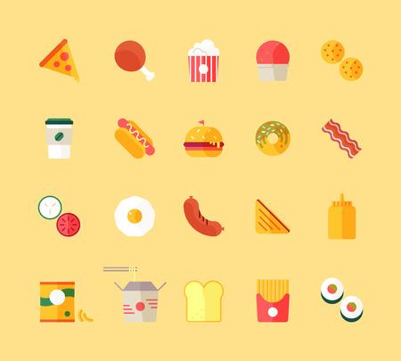 Flat design style modern vector illustration fast food restaurant icons set. Tasty food, meals, confection. Vector isolated illustration.