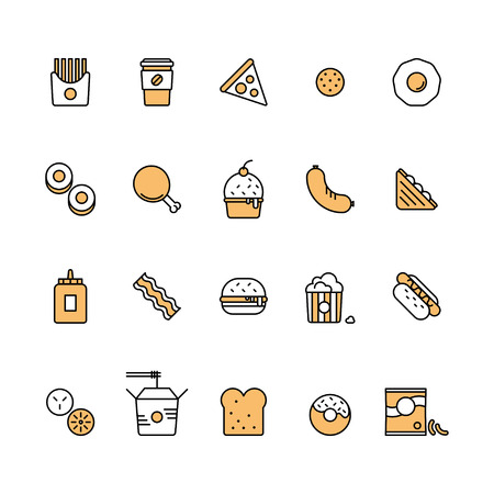 Modern vector isolated illustration fast food icons set. Tasty food, meals, confection. Line style vector