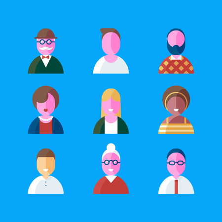 Colorful vector flat icon set and illustration different people character