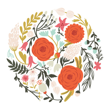 Beautiful circle of flowers in vector. Romantic cartoon invitation card. Stylish design element Ilustrace