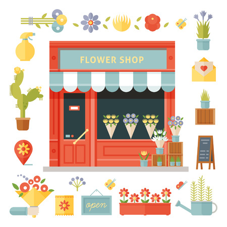 Colorful flowers shop vector flat icons set. Vector isolated illustration