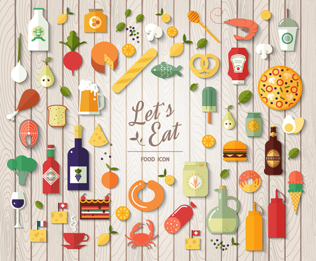 Flat design style modern vector illustration icons set on wood texture. Tasty food, meals, drinks, confection, vegetables and fruits.
