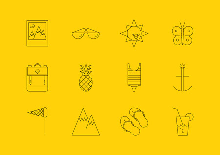 Line summer icons set. Modern vector logo pictogram collection concept. Travel Line Icons for Web and Mobile. Ilustrace