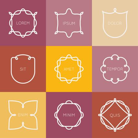 Vector set of minimal geometric vintage label. Logos set graphic design elements