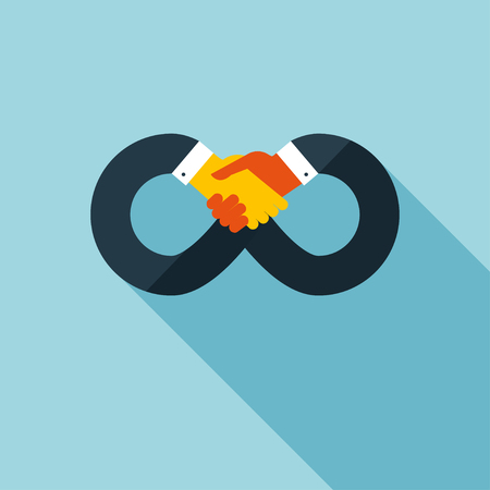 Handshake icon. concept illustration with long shadow effect in stylish colors of web design.