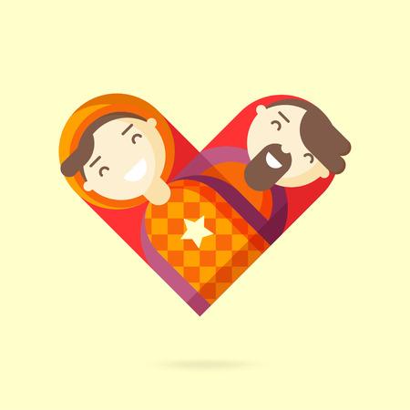 Happy gay couple. Homosexual design element. Vector illustration. Illustration